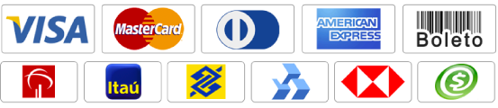 Visa - Mastercard - Diners Club - American Express - Boleto - Bradesco - Itaú - Banco do Brasil - Banrisul - HSBC - PagSeguro